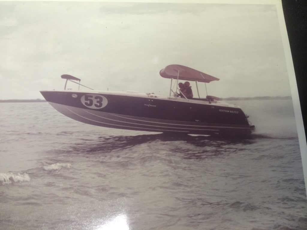 "The Bertram racing team experimented with various ways to improve speed and handling of its boats, including the addition of wings that could be adjusted by a cable system to change the angle of attack; Sam James says this particular gadget ""didn't fly."""