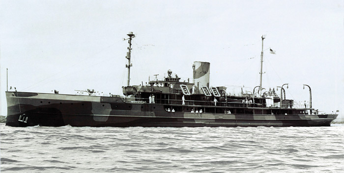 During World War II, the 262' (80m) Delphine II was conscripted by the U.S. Navy, armed, painted camouflage colors, and renamed USS Dauntless.