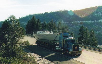 Built in Betts's shop in the mountains on the Nevada-California border, White Eagle, a Bob Perry design, heads over Donner Summit in 1997 toward the ocean.