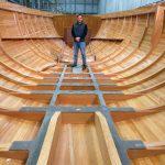 Drew Lyman inside of finished hull