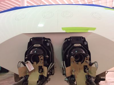 The new Bravo XR Sport Drives being installed, showing just the gimbals at this point.