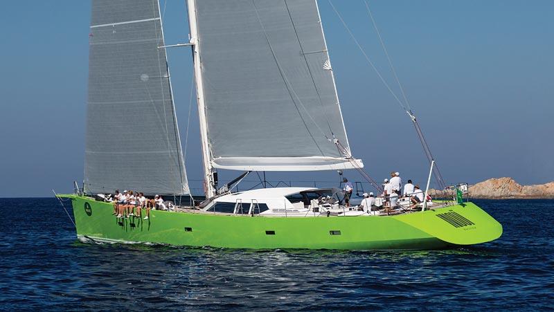 Green marine sailing shot