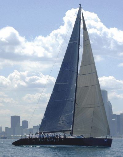 The 77' (23m) Alchemy, designed by Alan Andrews and built by Dencho Marine, finished first in the 2003 Chicago–Mackinac Race. Her retractable keel adjusts from 9.5' to 14' (2.9m to 4.3m).