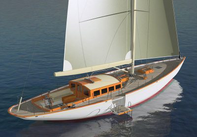 deck-view rendering of yacht Anna