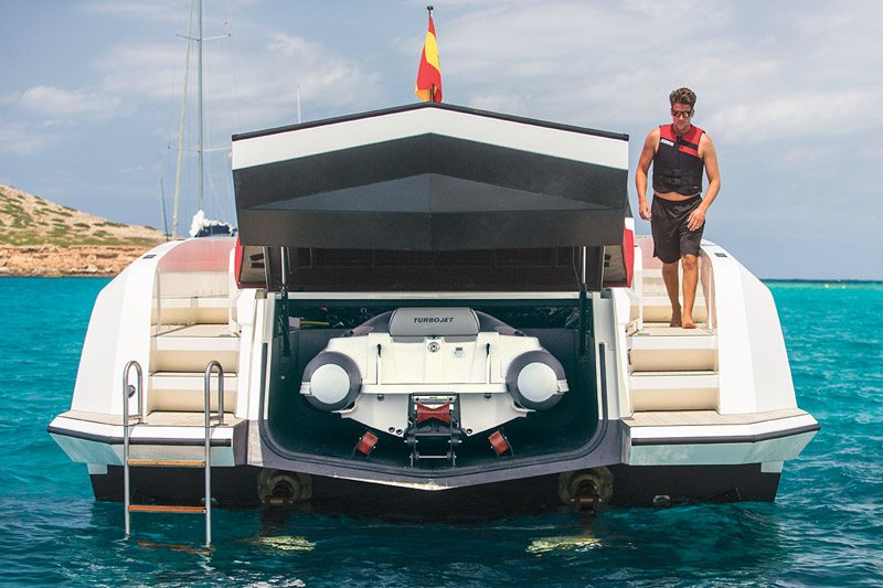 "The VQ54 (16.5m) from Vanquish Yachts also features a ""garage"" for a smaller sport boat."