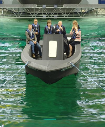 The Maine Congressional Delegation onboard 3Dirigo in the University of Maine ASCC lab's water tank.