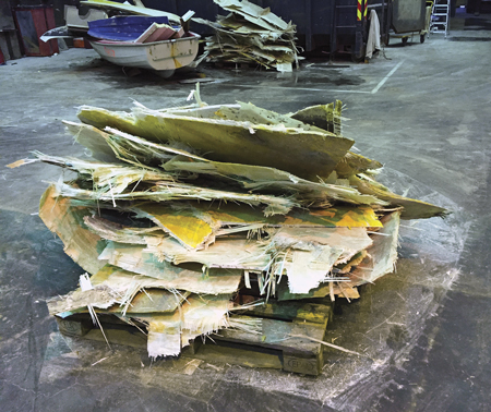 Cut-up fiberglass boats